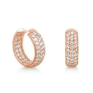 Rose Gold Plated Simulate Diamond Hoop Earrings